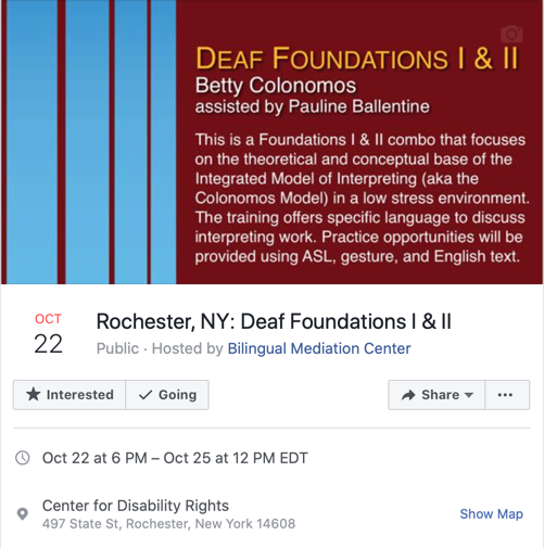 Facebook event link to Deaf Foundations I & II at CDR in Rochester, NY